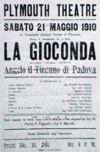 21 maggio 1910, Maria e Giulio Turci, genitori dell'artista, recitano a Plymouth